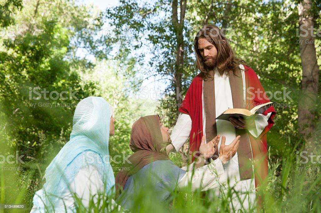 Jesus Expounding on Scriptures stock photo