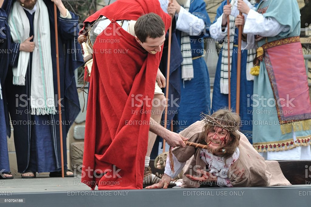 Jesus falls on the Cross stock photo