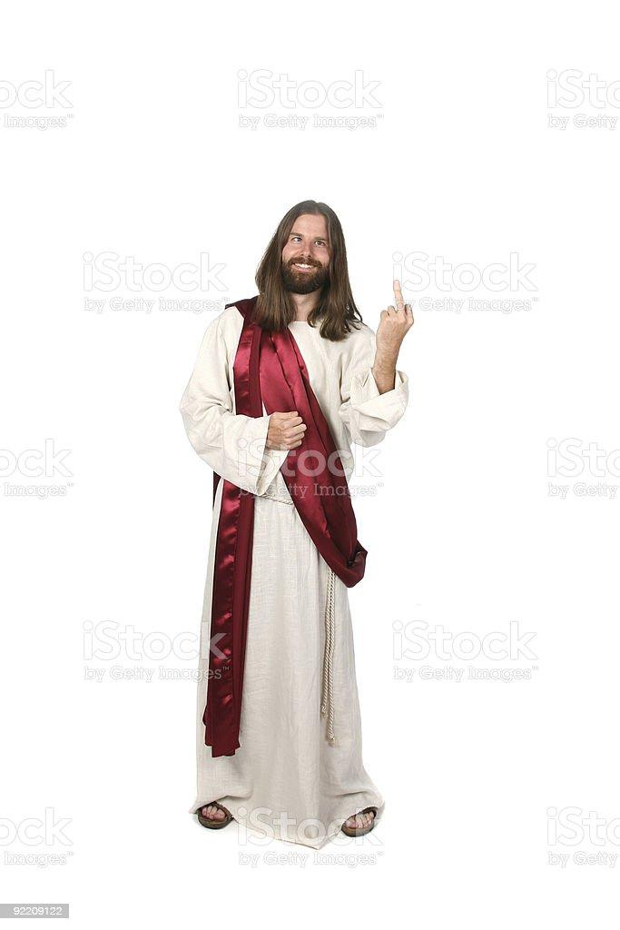 Jesus Flipping the Bird royalty-free stock photo