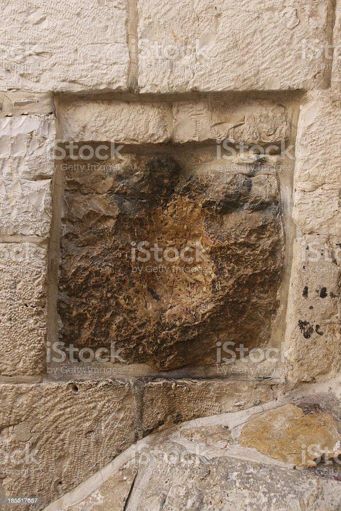 Jesus Hand Imprint - Via Dolorosa, Jerusalem. stock photo