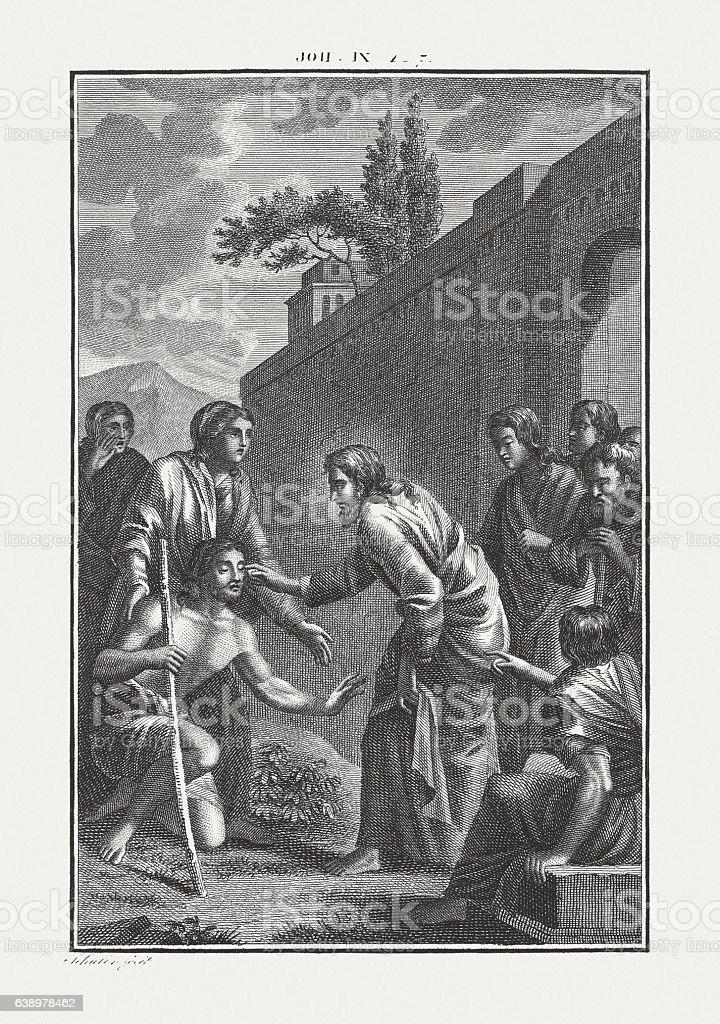Jesus Heals a Man Born Blind (John 9), published c.1850 stock photo