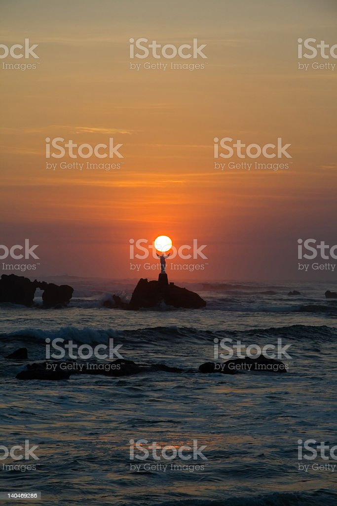 Jesus holding the sun royalty-free stock photo