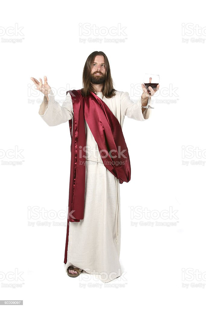 Jesus Holding Wine royalty-free stock photo
