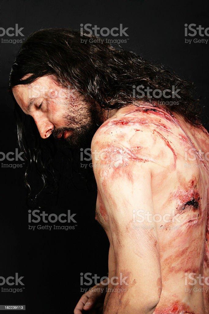 Jesus in pain royalty-free stock photo
