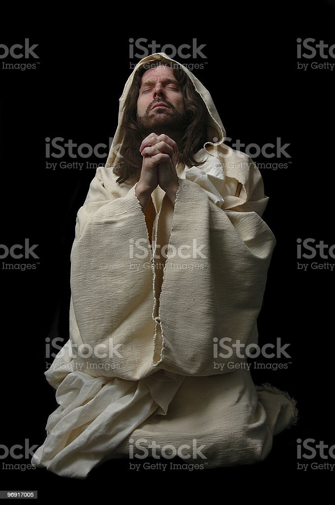 Jesus in prayer_Full body stock photo