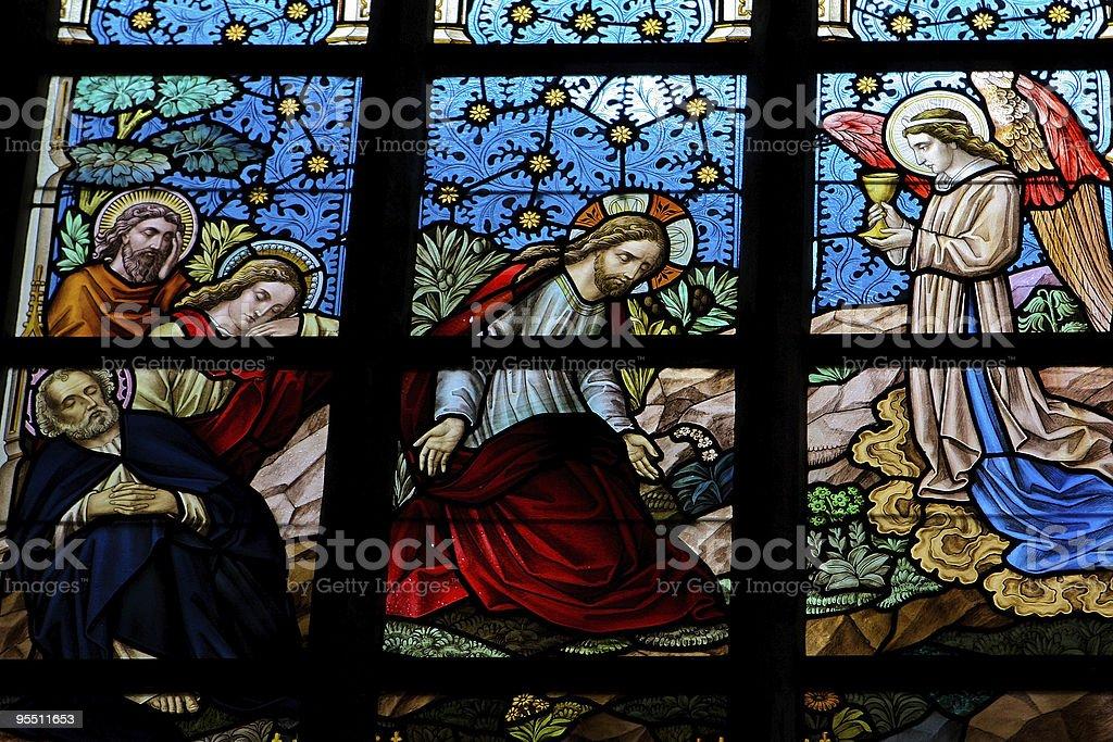 Jesus in the garden of Gethsemane stock photo