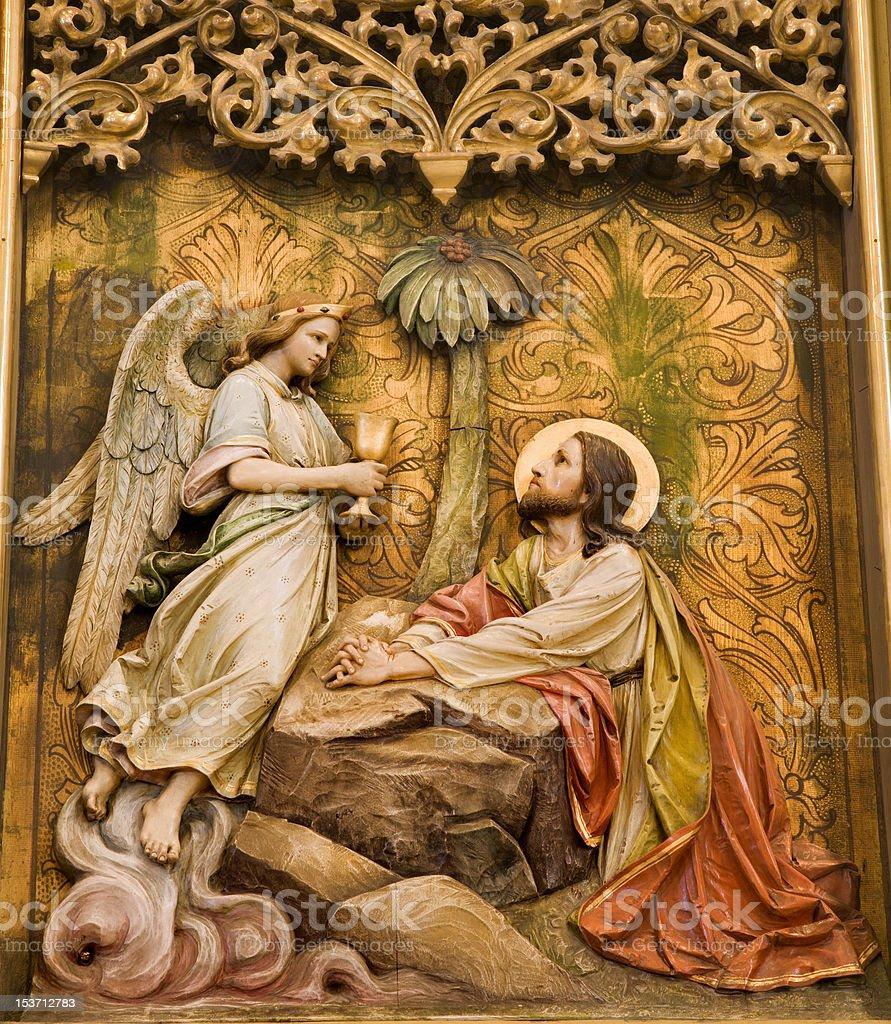 Jesus in the Gethsemane garden royalty-free stock photo