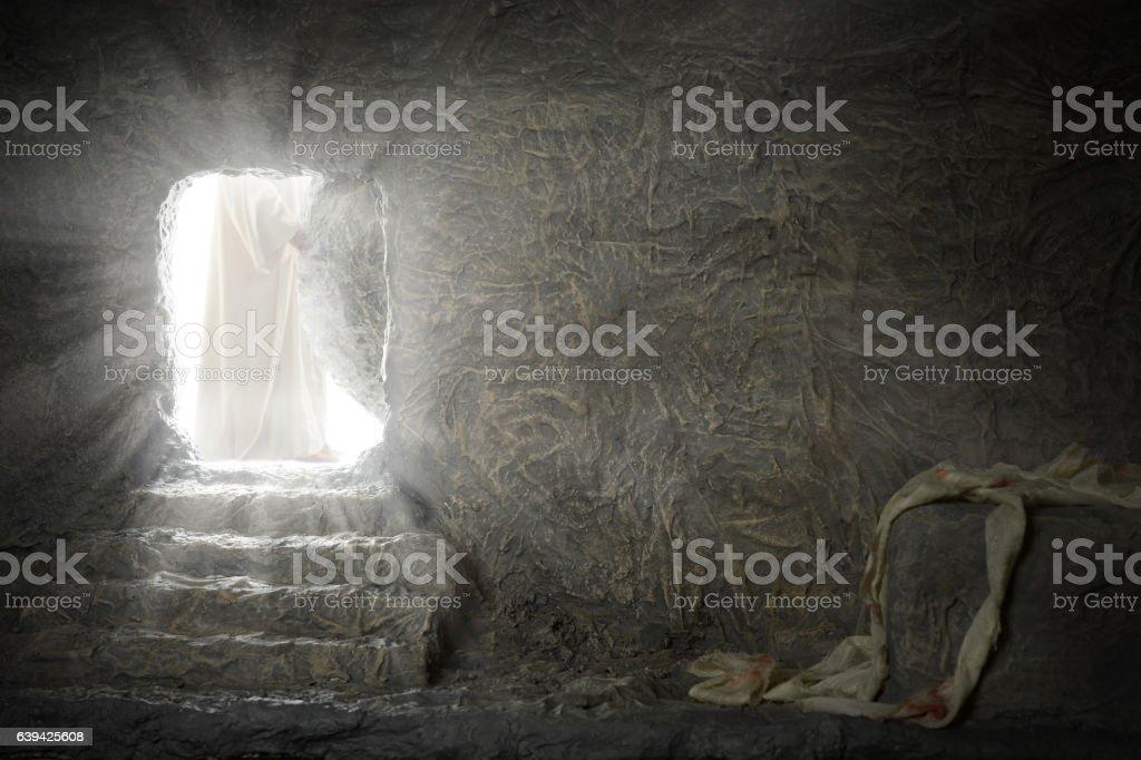 Jesus Leaving Empty Tomb stock photo