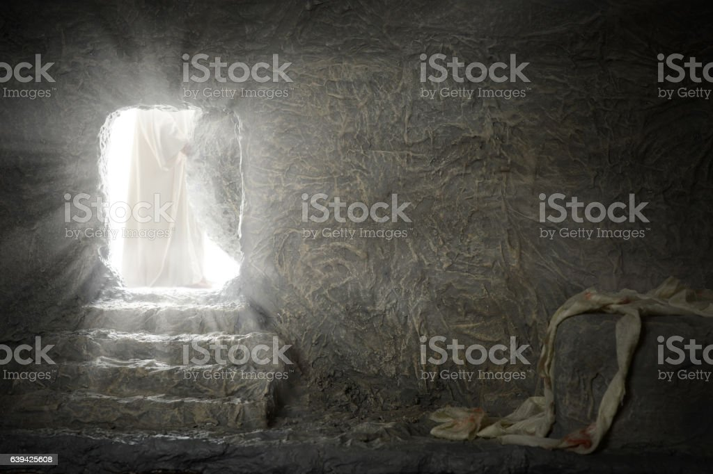Jesus Leaving Empty Tomb stock photo
