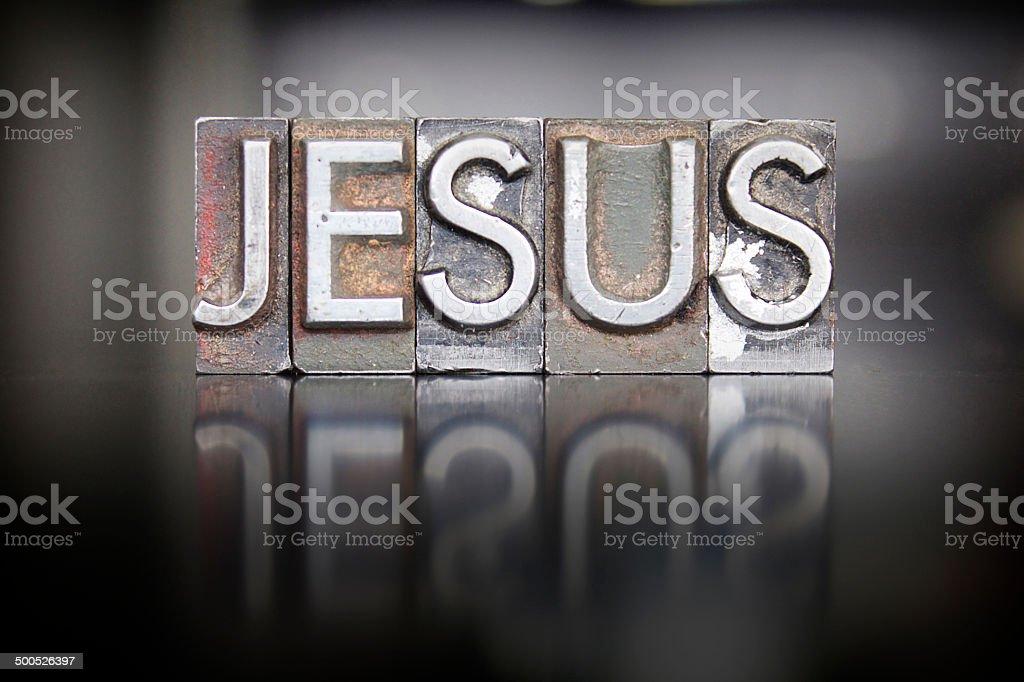 Jesus Letterpress stock photo