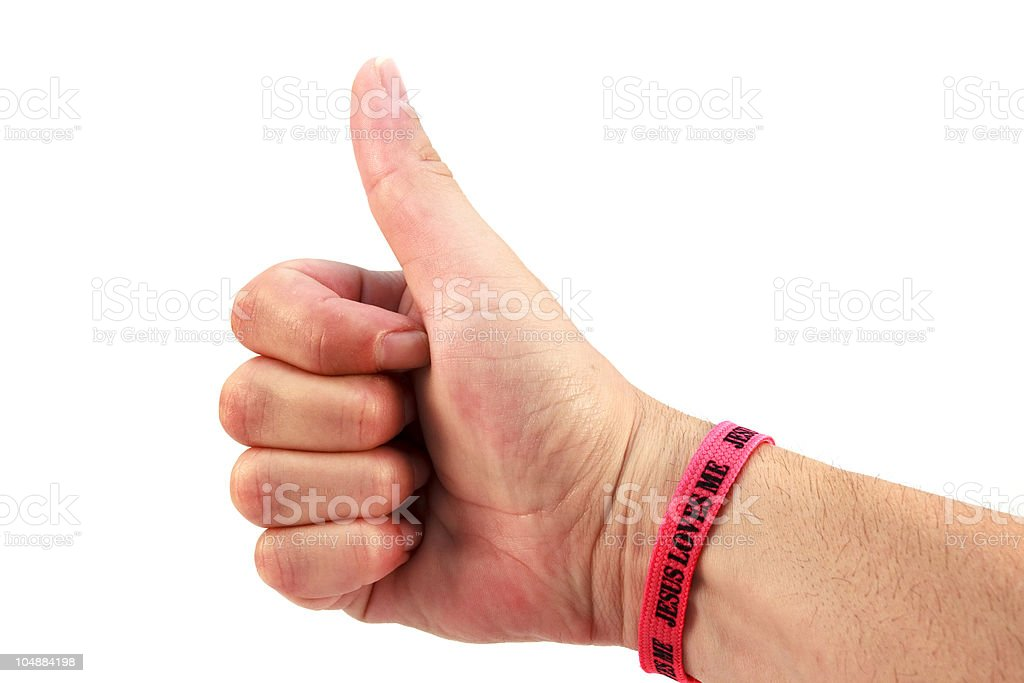 Jesus Loves Me Thumbs Up royalty-free stock photo