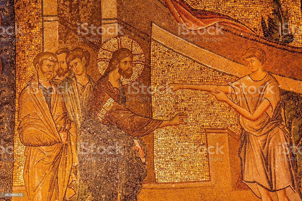 Jesus Miracle Mosaic stock photo