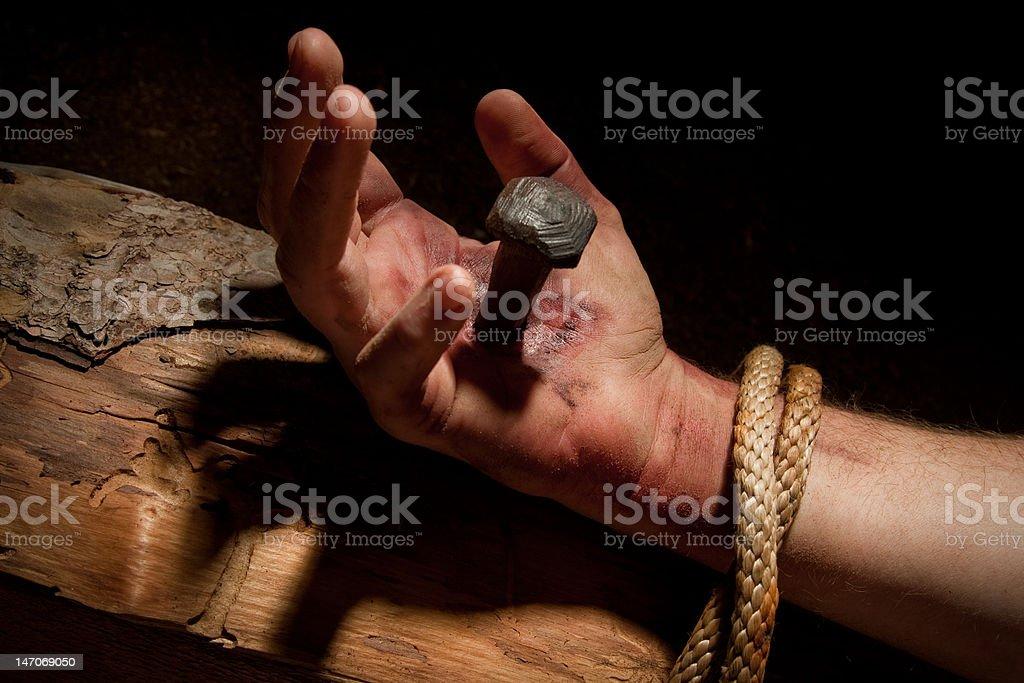 Jesus Nail-pierced Hand stock photo