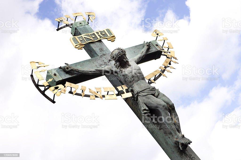 Jesus on cross, (Charles Bridge, Prague) royalty-free stock photo