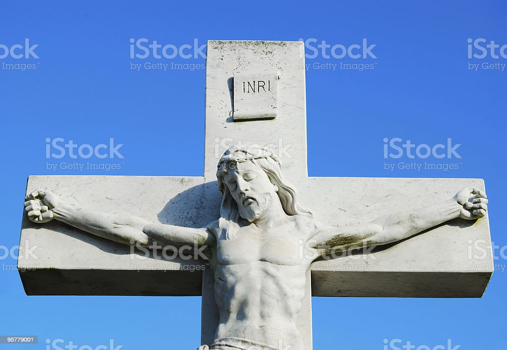 Jesus on Cross Statue in a Halifax Cemetery royalty-free stock photo