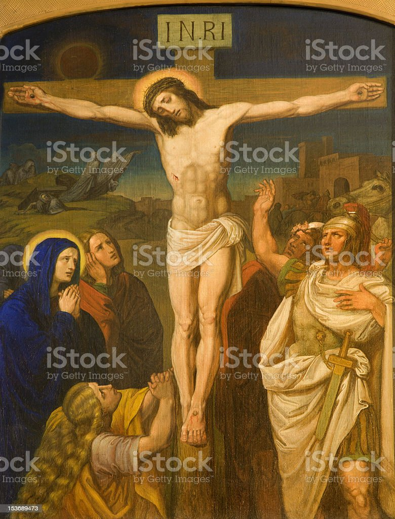Jesus on the cross from Vienna church royalty-free stock photo