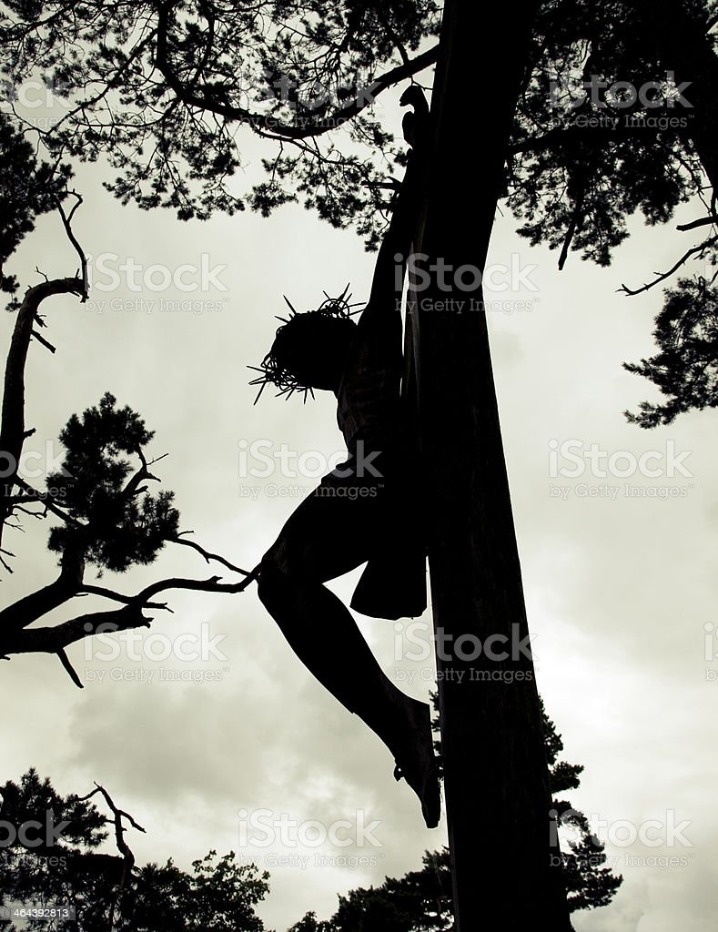 Jesus On The Cross Silhouette royalty-free stock photo