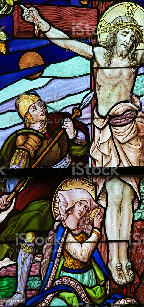 Jesus on the Cross - Stained Glass stock photo