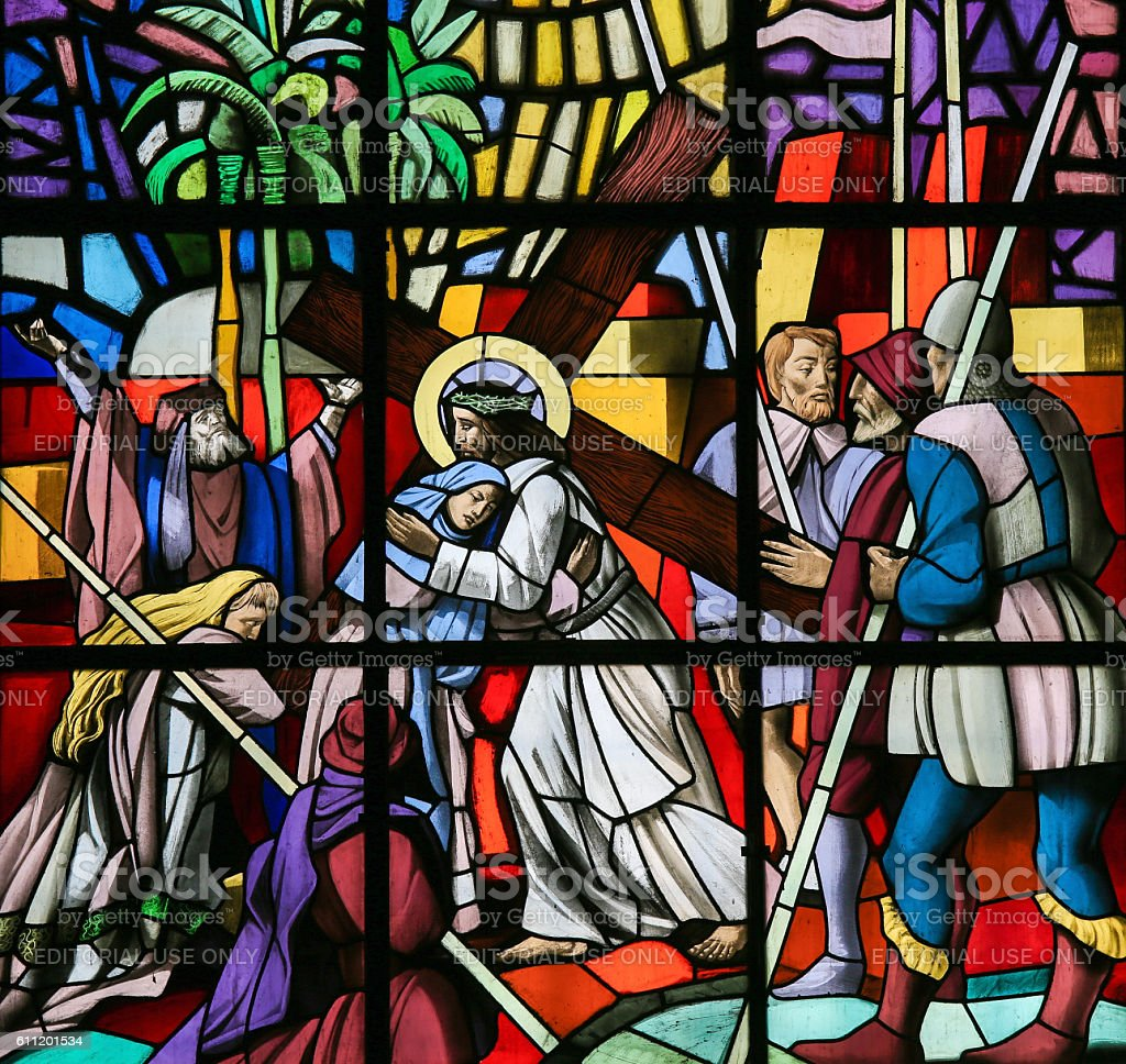 Jesus on the Via Dolorosa - Stained Glass stock photo