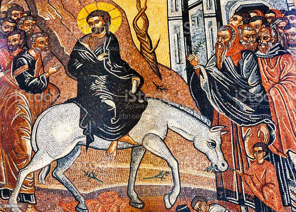 Jesus Palm Sunday Mosaic Saint George Church Madaba Jordan stock photo