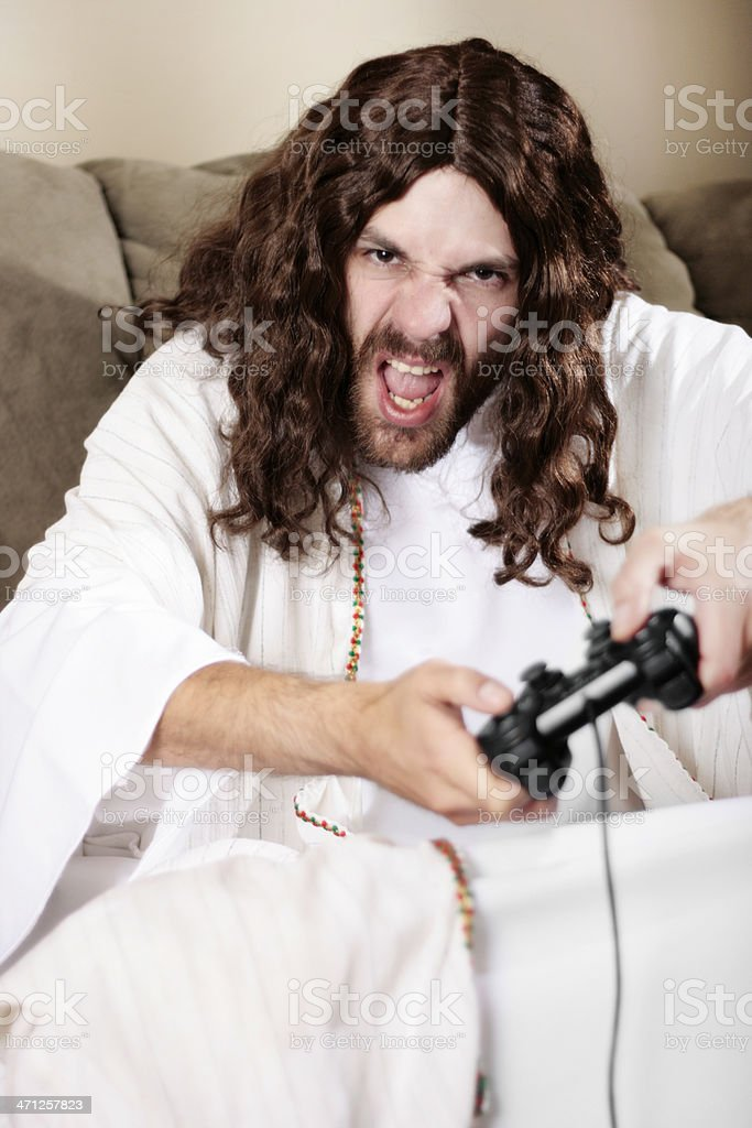 Jesus Playing Video Games royalty-free stock photo