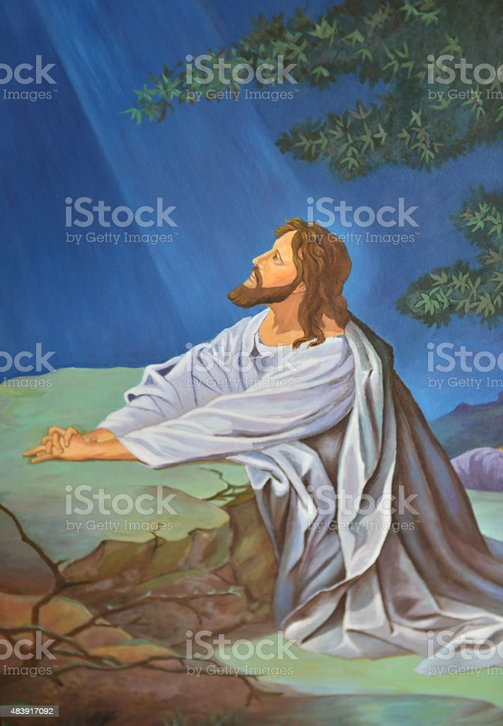 Jesus praying stock photo