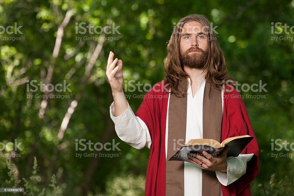 Jesus Preaching from the Bible stock photo