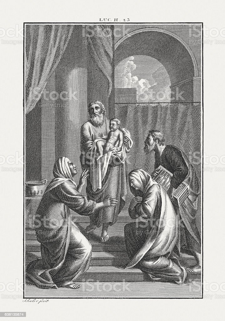 Jesus' Presentation at the Temple (Luke 2), published c. 1850 stock photo