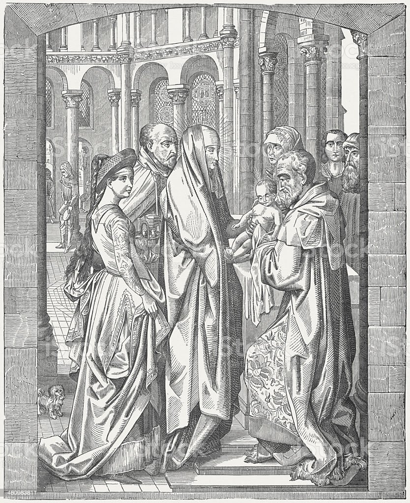 Jesus' Presentation at the Temple (Luke 2), published c.1880 stock photo