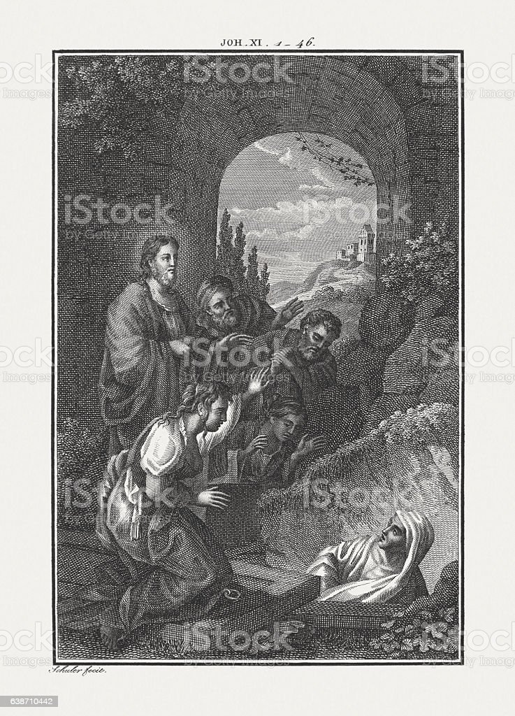 Jesus Raises Lazarus From the Dead (John 11), published c.1850 stock photo