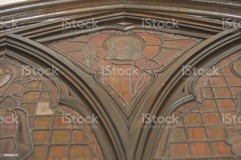 Jesus religion stained glass church detail stock photo