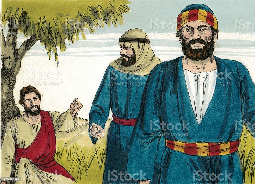 Jesus Sends Disciples to Jerusalem royalty-free stock photo