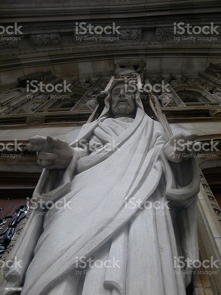Jesus statue at the entrance of a NY church royalty-free stock photo