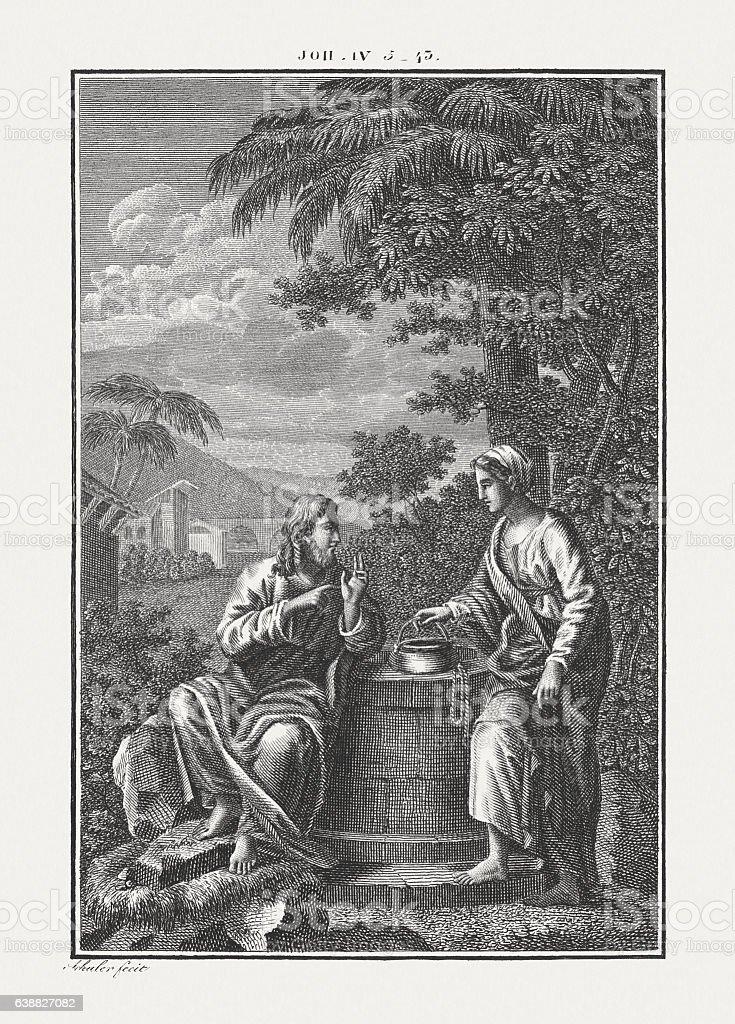 Jesus Talks With a Samaritan Woman (John 4), published c.1850 stock photo