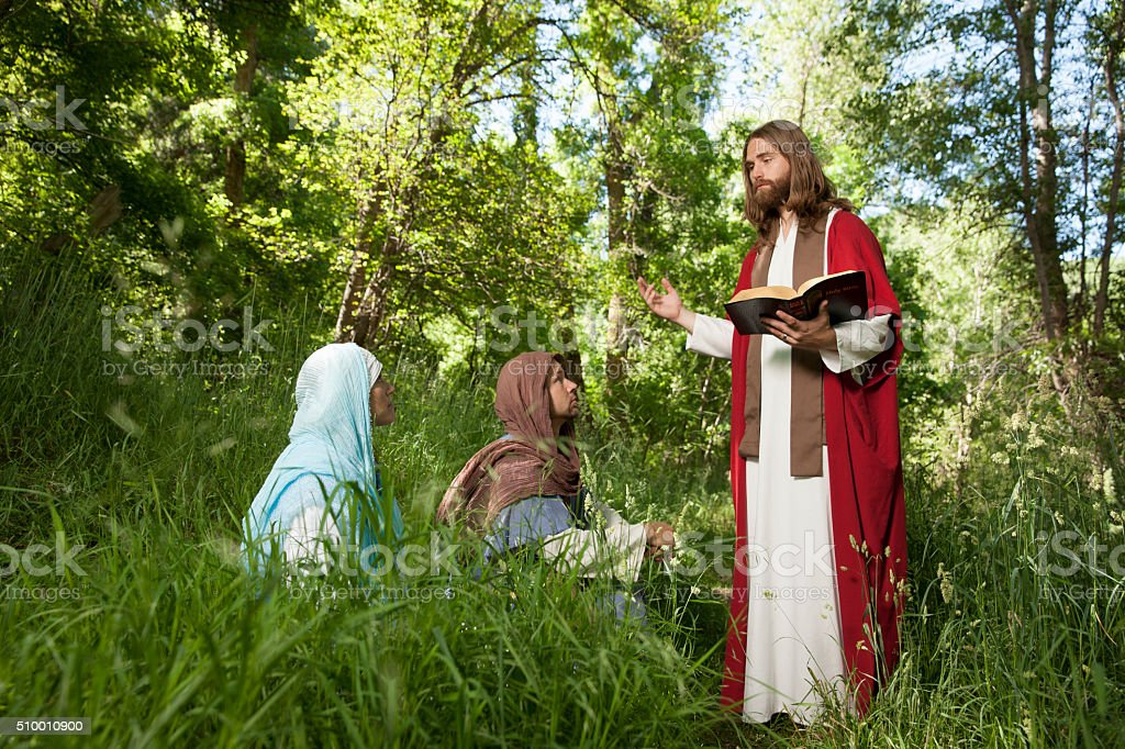 Jesus Teaching His Followers from the Scriptures stock photo