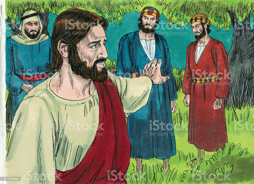 Jesus Tells Disciple Wait and Watch stock photo