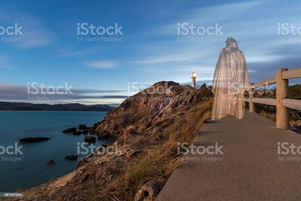 Jesus Walking to Lighthouse stock photo