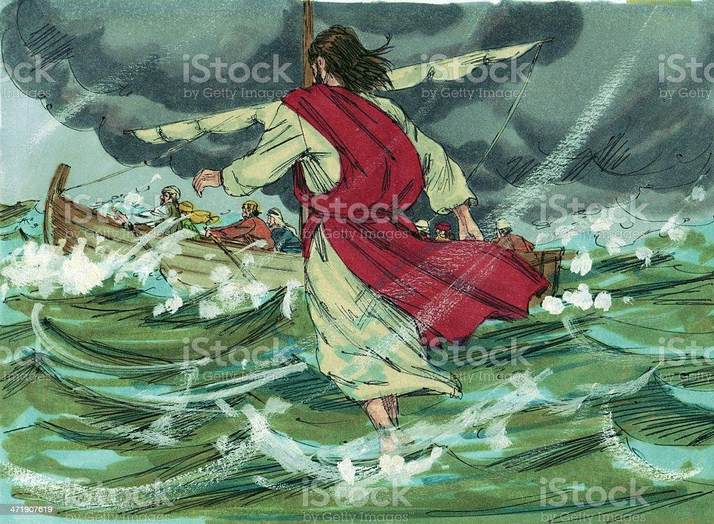 Jesus Walks on Water stock photo