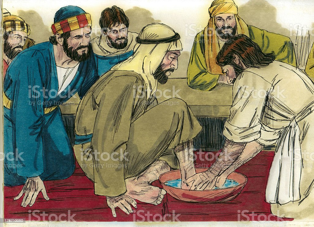 Jesus Washes Disciples' Feet royalty-free stock photo