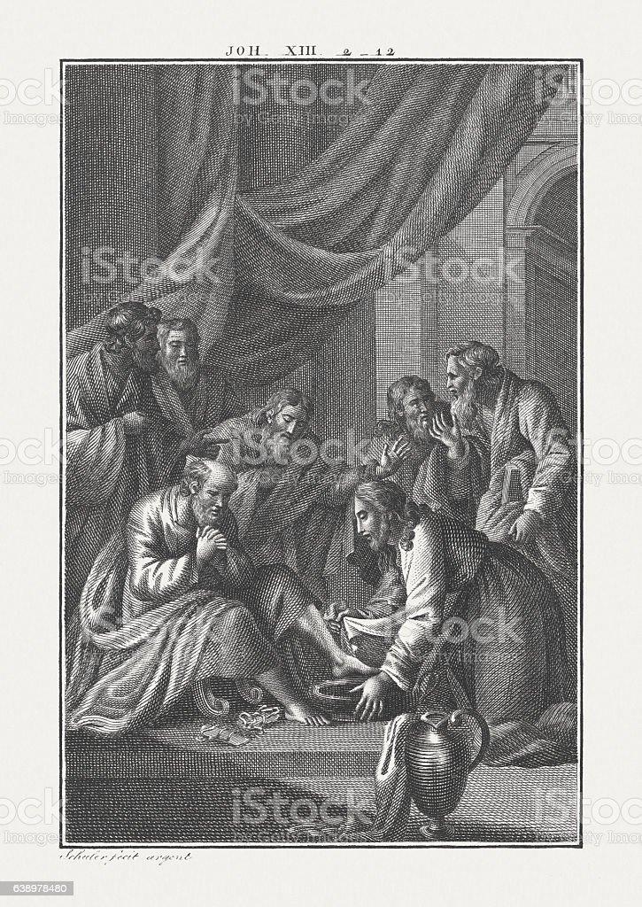 Jesus Washes His Disciples' Feet (John 13), published c. 1850 stock photo