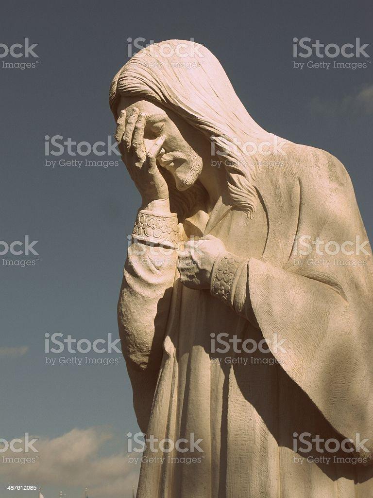 Jesus Weeping Statue, Oklahoma City Federal Building Bombing Memorial stock photo