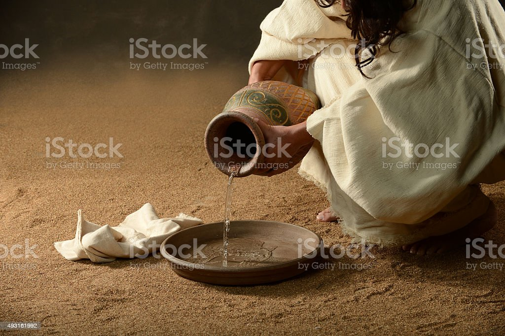 Jesus with a jug of water stock photo