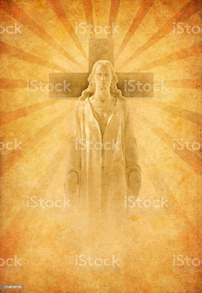 Jesus with cross on old paper royalty-free stock photo