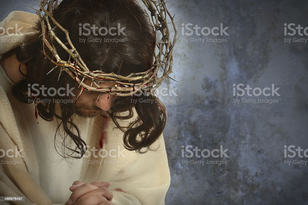 Jesus With Crown of Thorns stock photo