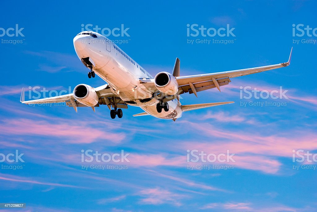 Jet Aeroplane Landing From Bright Twilight Blue Pink Sky royalty-free stock photo