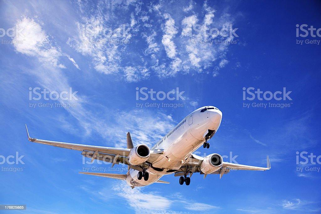 Jet Aeroplane Landing FromDeep Blue Summer Sky stock photo