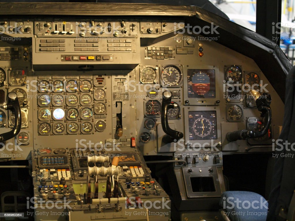 Jet aircraft cockpit Equipment stock photo