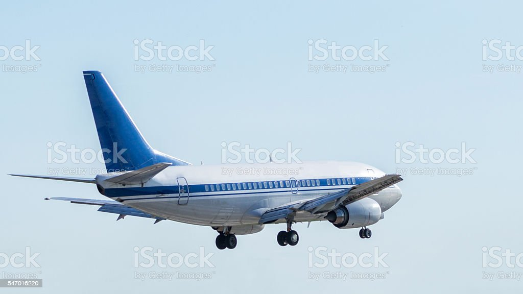 Jet aircraft during the flight stock photo