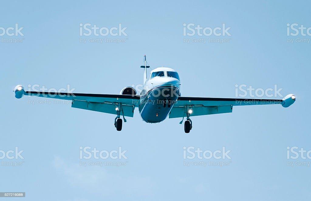 Jet airliner in flight ready for landing stock photo