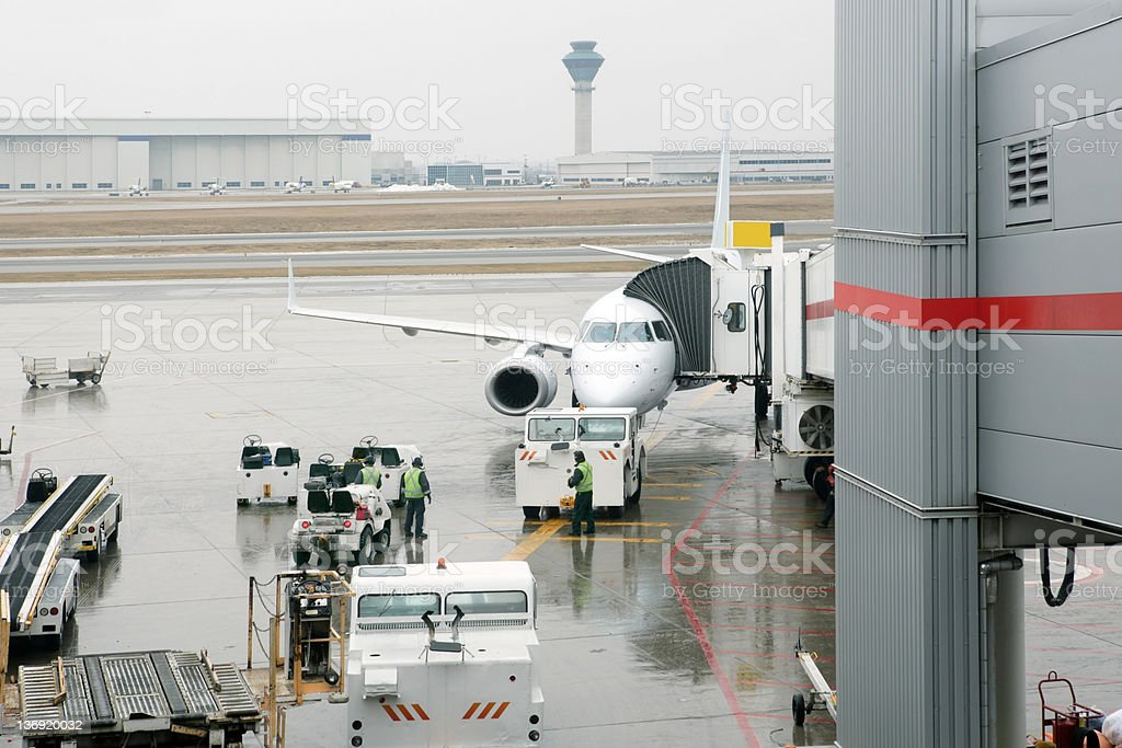 XXL jet airplane at airport royalty-free stock photo